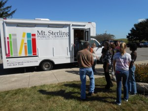 Madison Plains students wait their turn to come onboard the Bookmobile