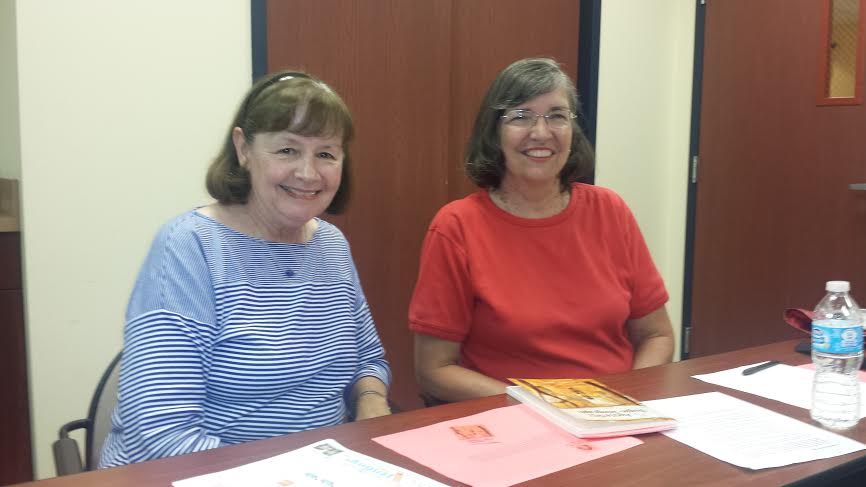Member Karen Levine & visiting Author Janet Shailer at the July 2014 Book Club