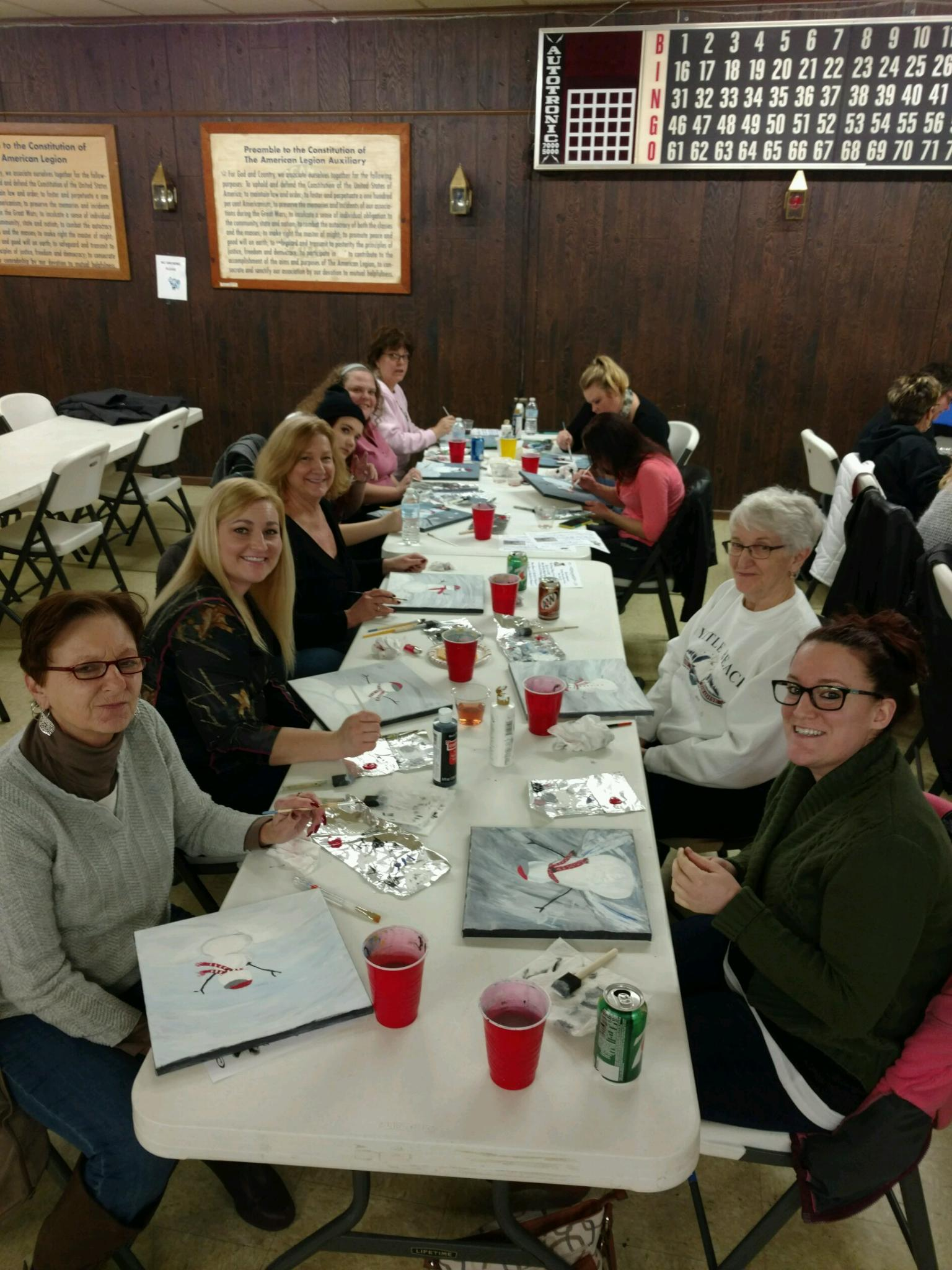 Several large groups of friends and family members attended the Paint Mixer
