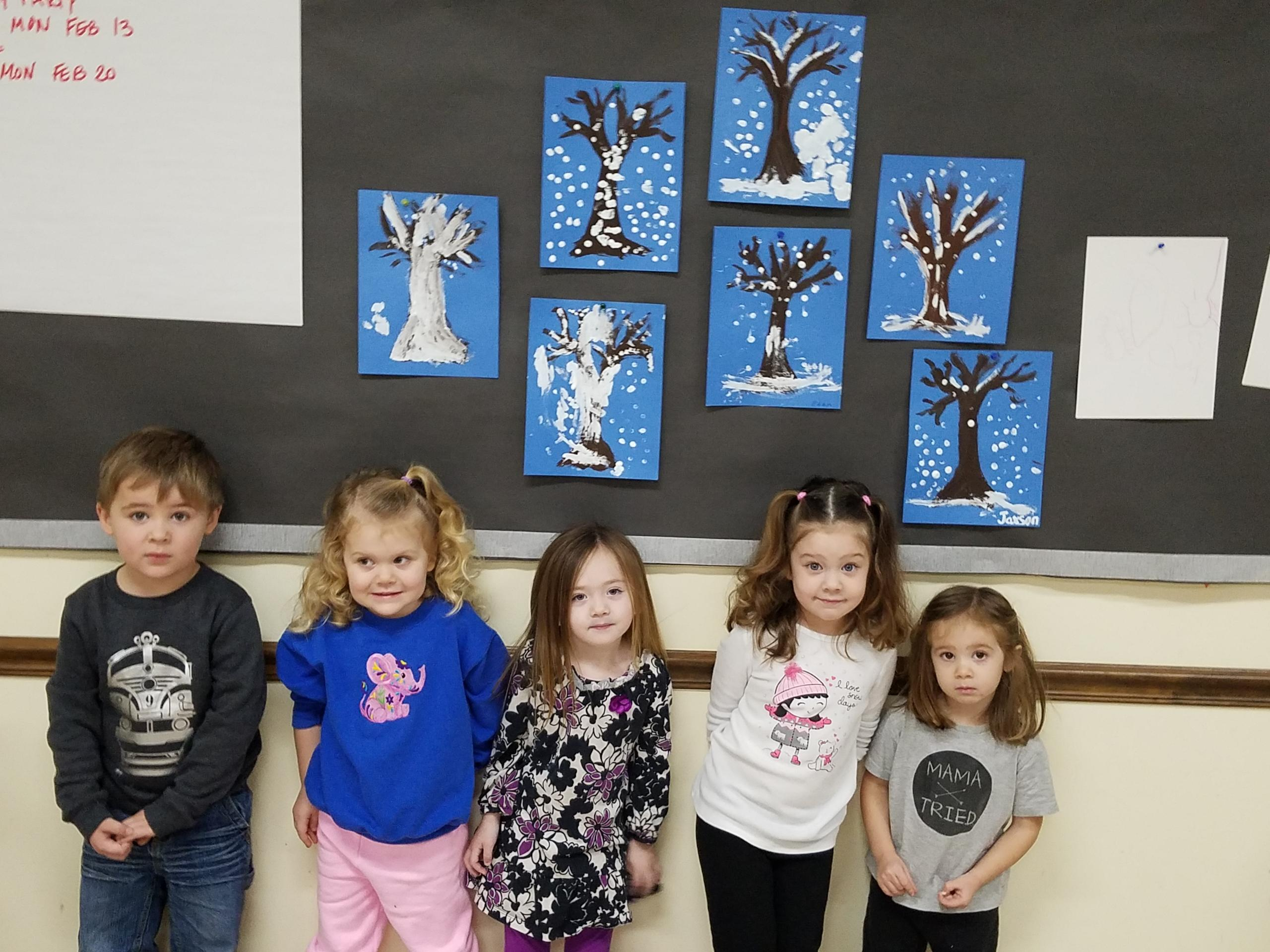 Displaying their latest creation from Story Time are (l-r) Jaxson, Hannah, Sophia, Emily, and Eden.  Evan was not present for photo.