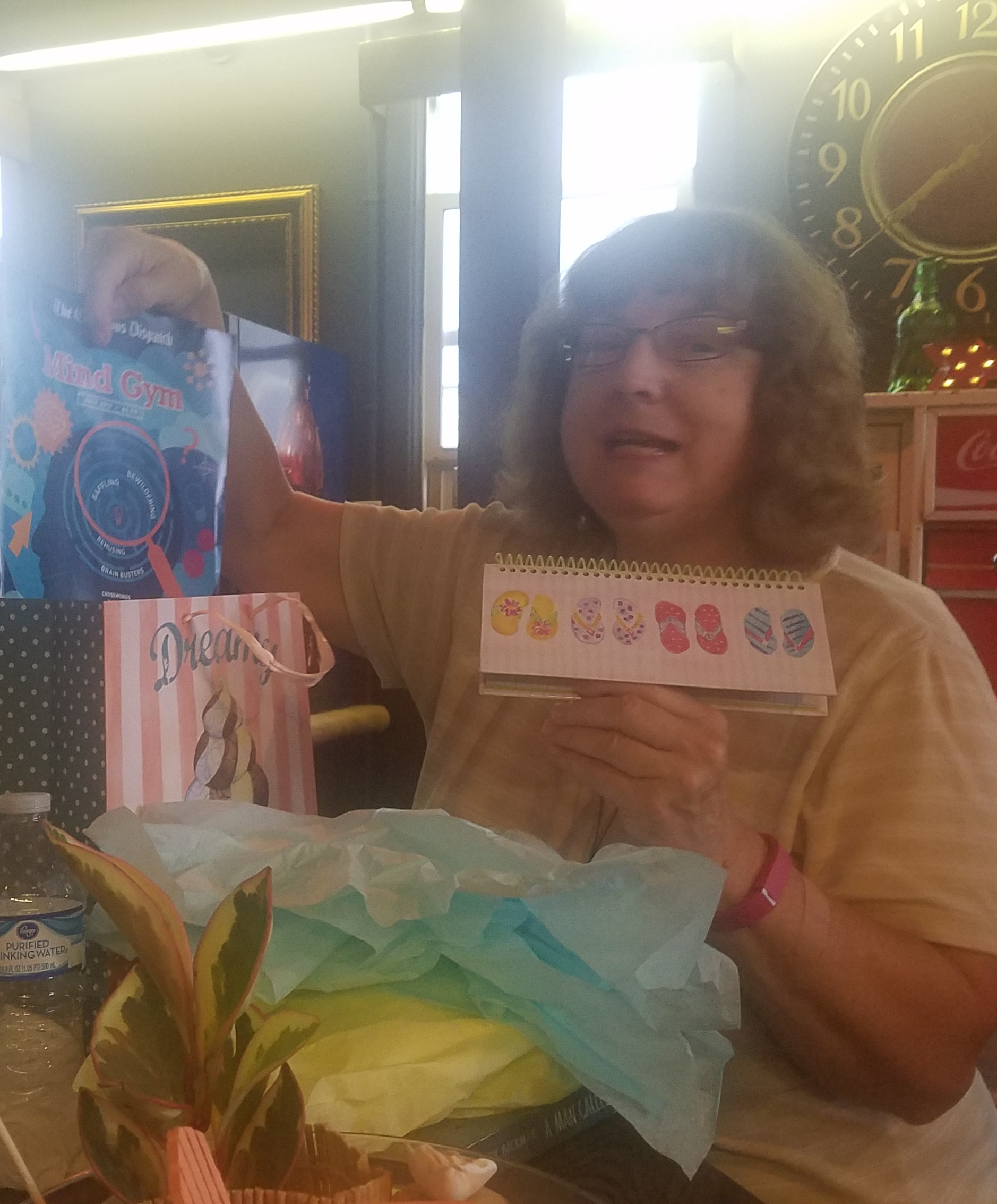 Pam Recko was the lucky winner fot the prize at the August 'Around Town' Book Club meeting.