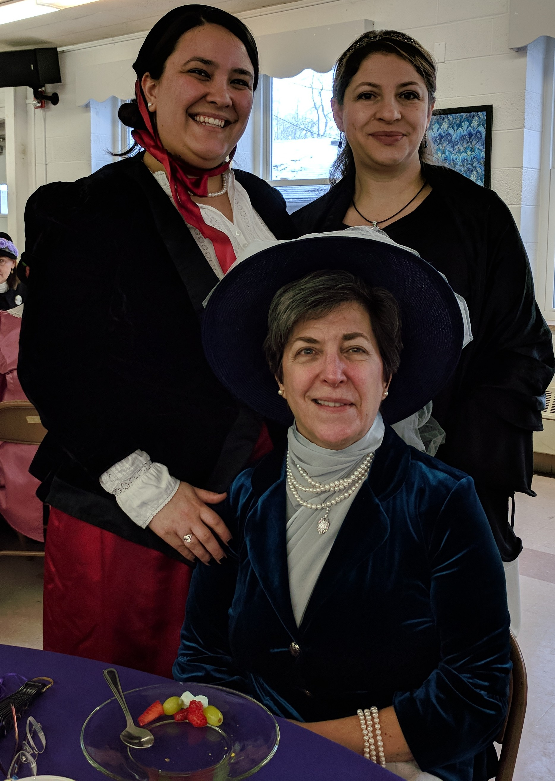 Christine (top left) came from Reynoldsburg and brought her cousin, Yasmine, from Dayton, and her mother, Catherine, from Newport, Kentucky just to participate in the annual Victorian Sweetheart Tea! Catherine won the prize for traveling the farthest.