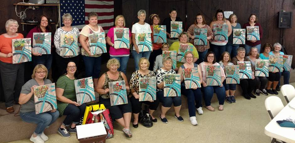 The Friends of the Library had a successful fundraiser with their Springtime Sip & Paint Party in May.