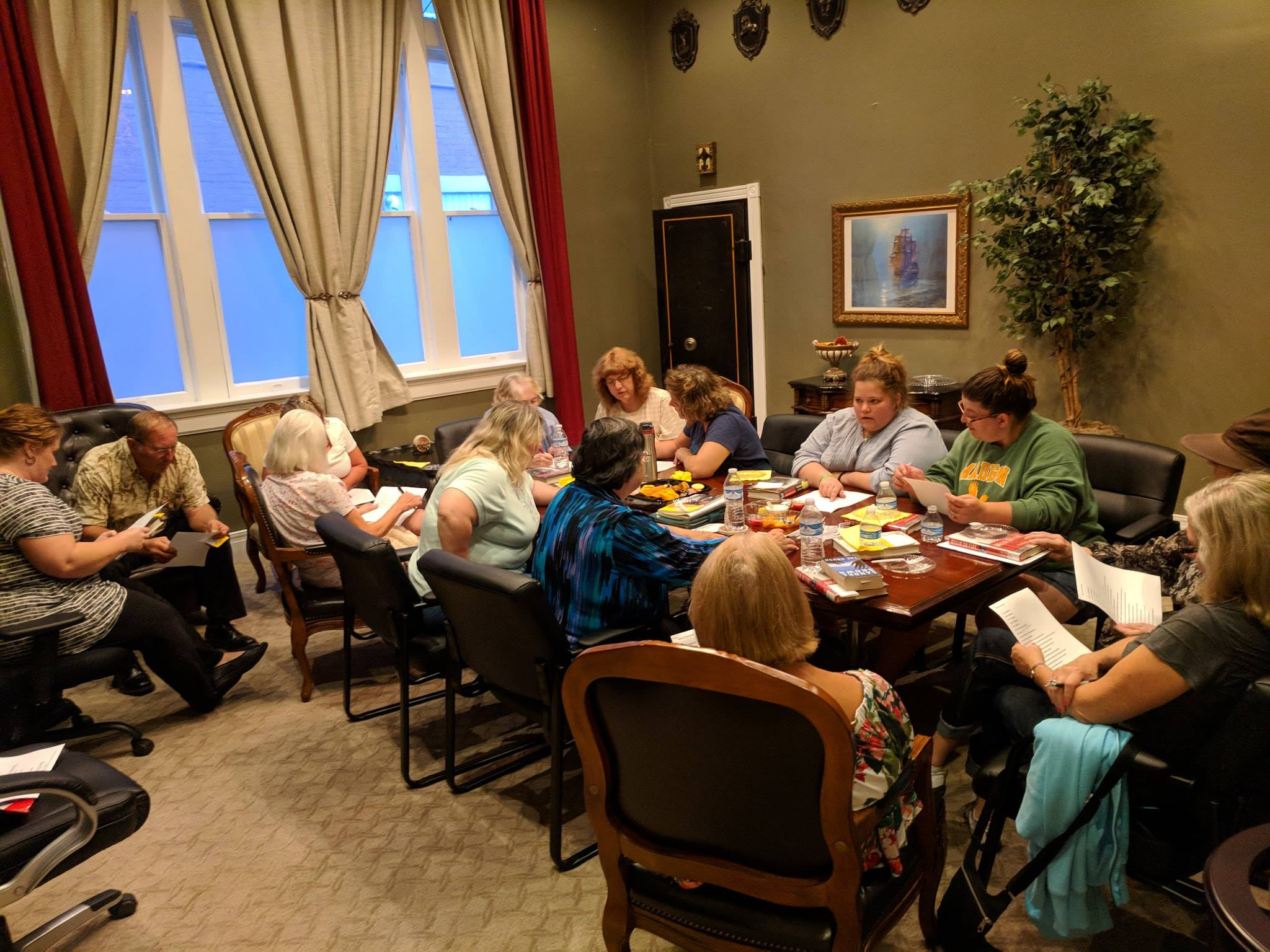 16 people were in attendance for the July 'Around Town' Book Club meeting.