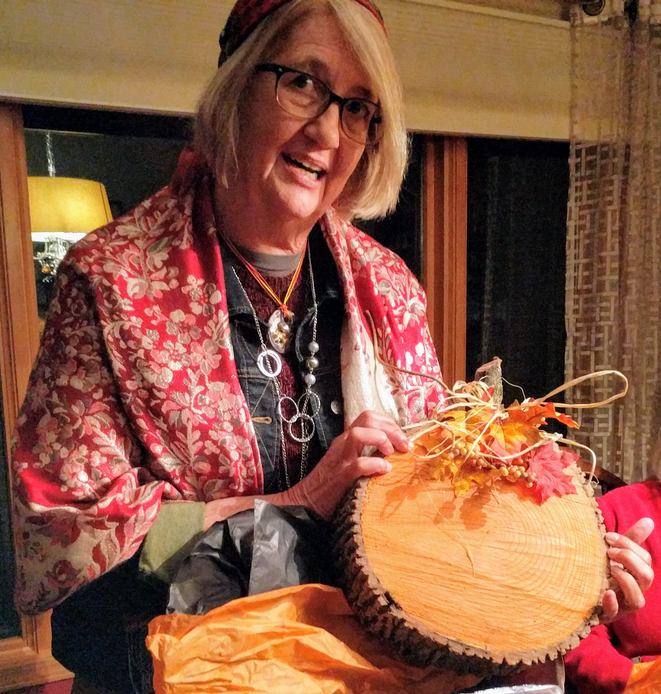Bev Kern won the best costume prize at the October  book club meeting.