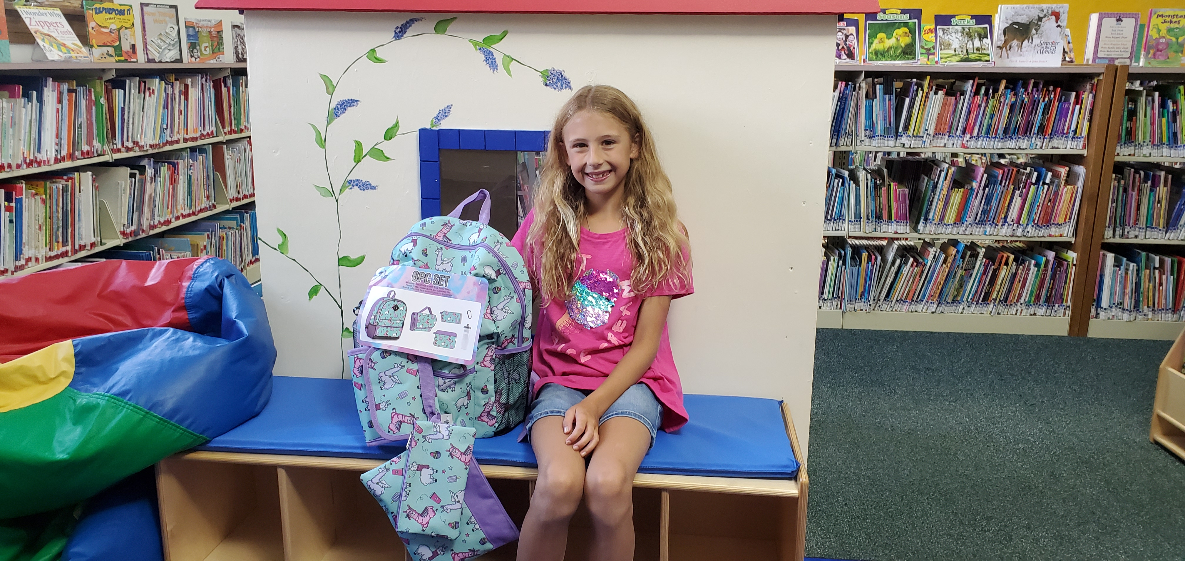 We held a special drawing for older kids who participated in the Summer Reading program. Jayanna Pateeto was the first recipient and is shown here with her awesome new backpack set!
