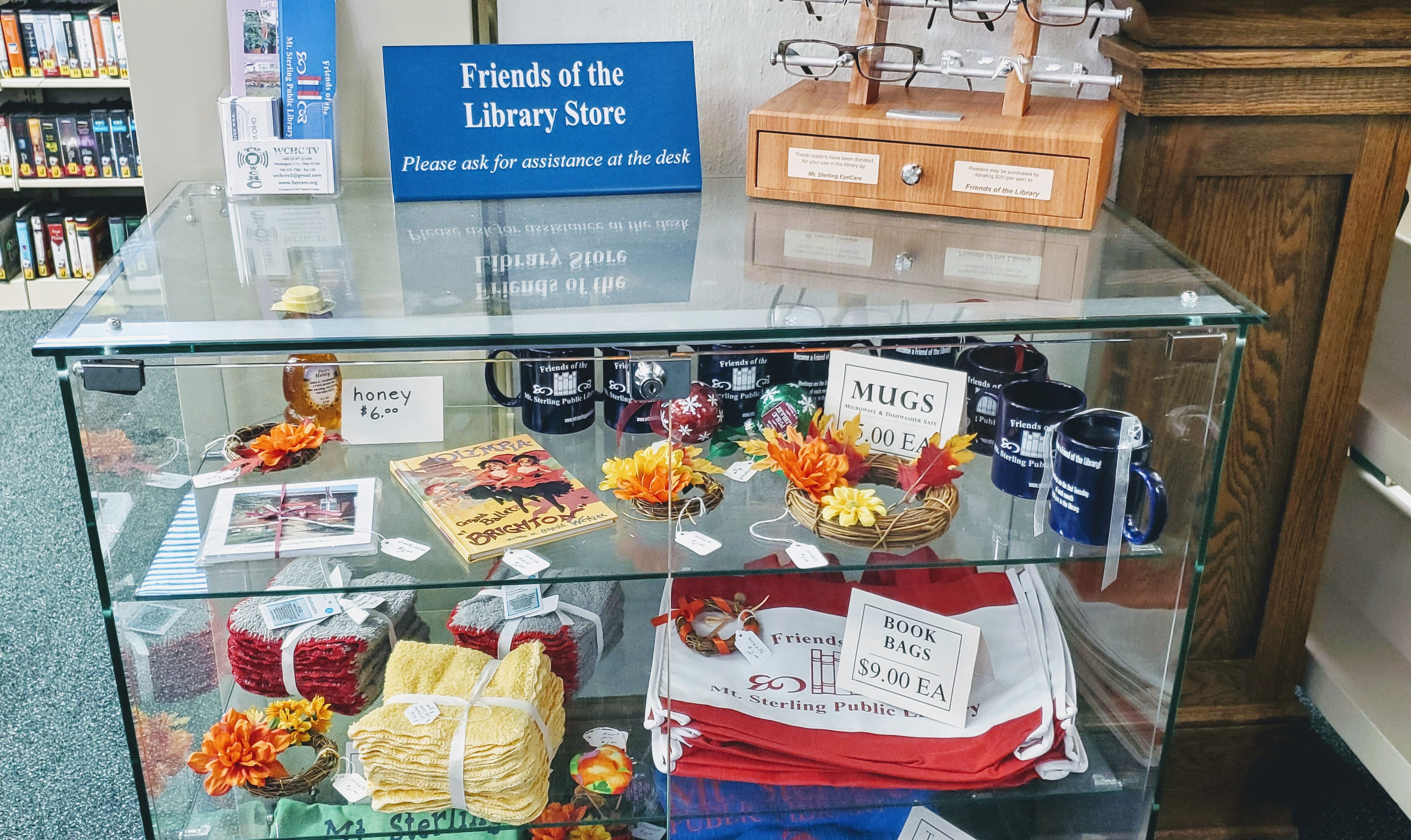 While in the library be sure to  browse and shop from our Friends of the Library sales display. They have added a lot of new and seasonal items!
