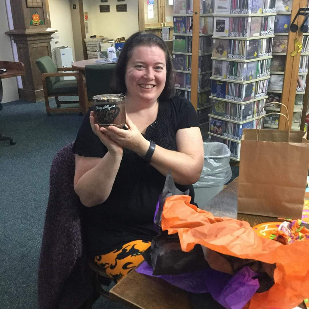 Congrartulations to Bethany Mead of Grove City for taking home the prize from the October 'Around Town' Book Club meeting.