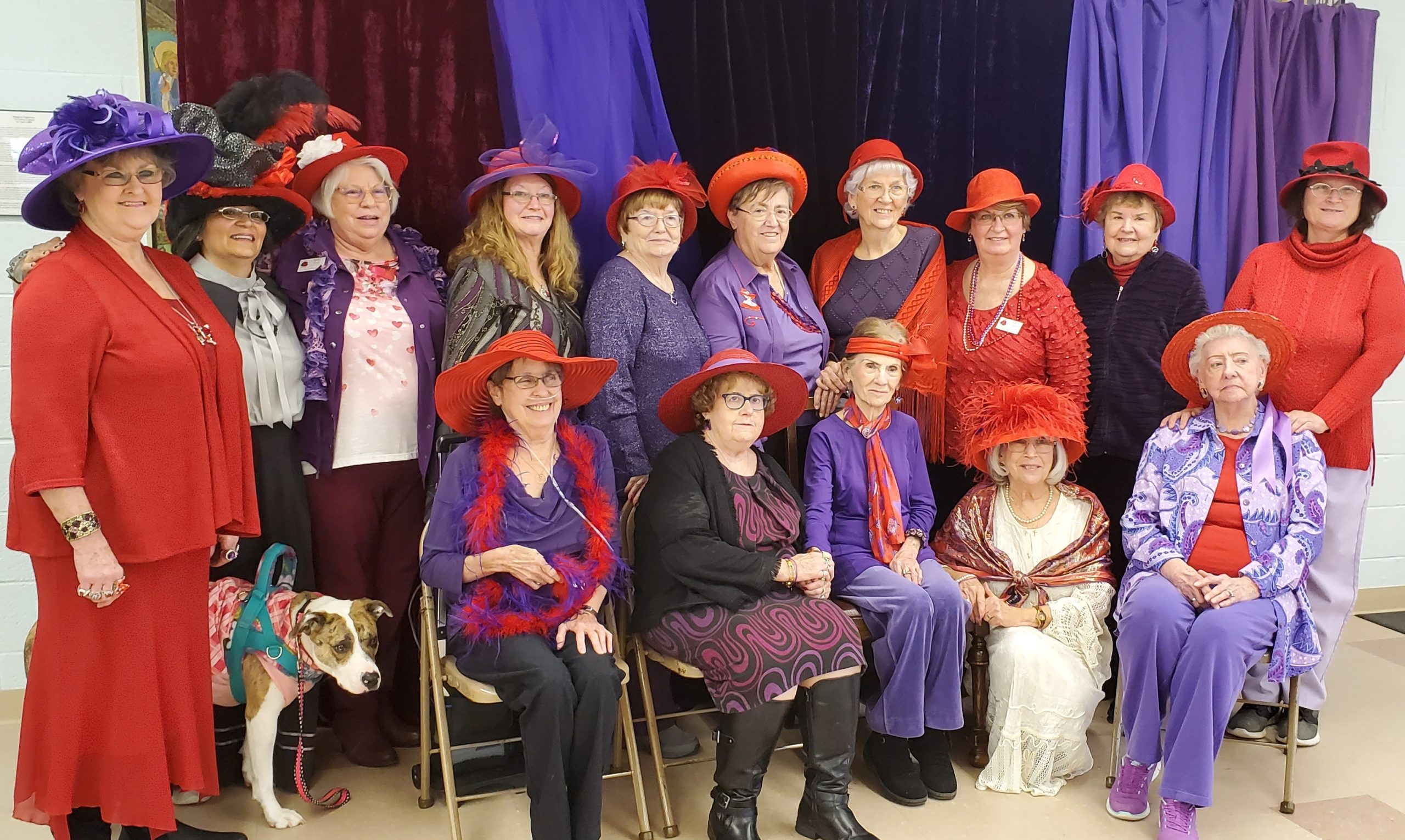 The Dazzling Diva Red Hats Club were the largetst group represented at the FOL annual Victorian Tea