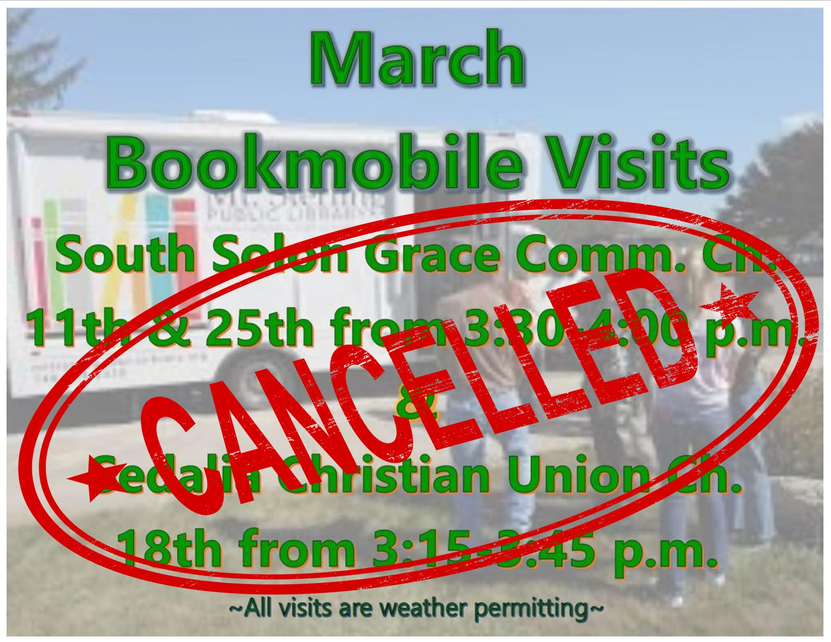 Bookmobile cancelled