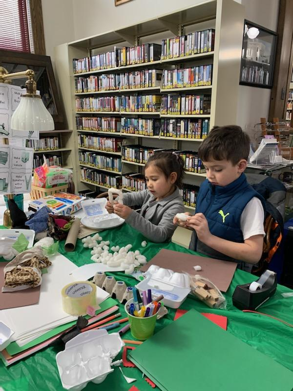 The Kids Makerspace participants enjoyed the afternoon of creativity in the library.