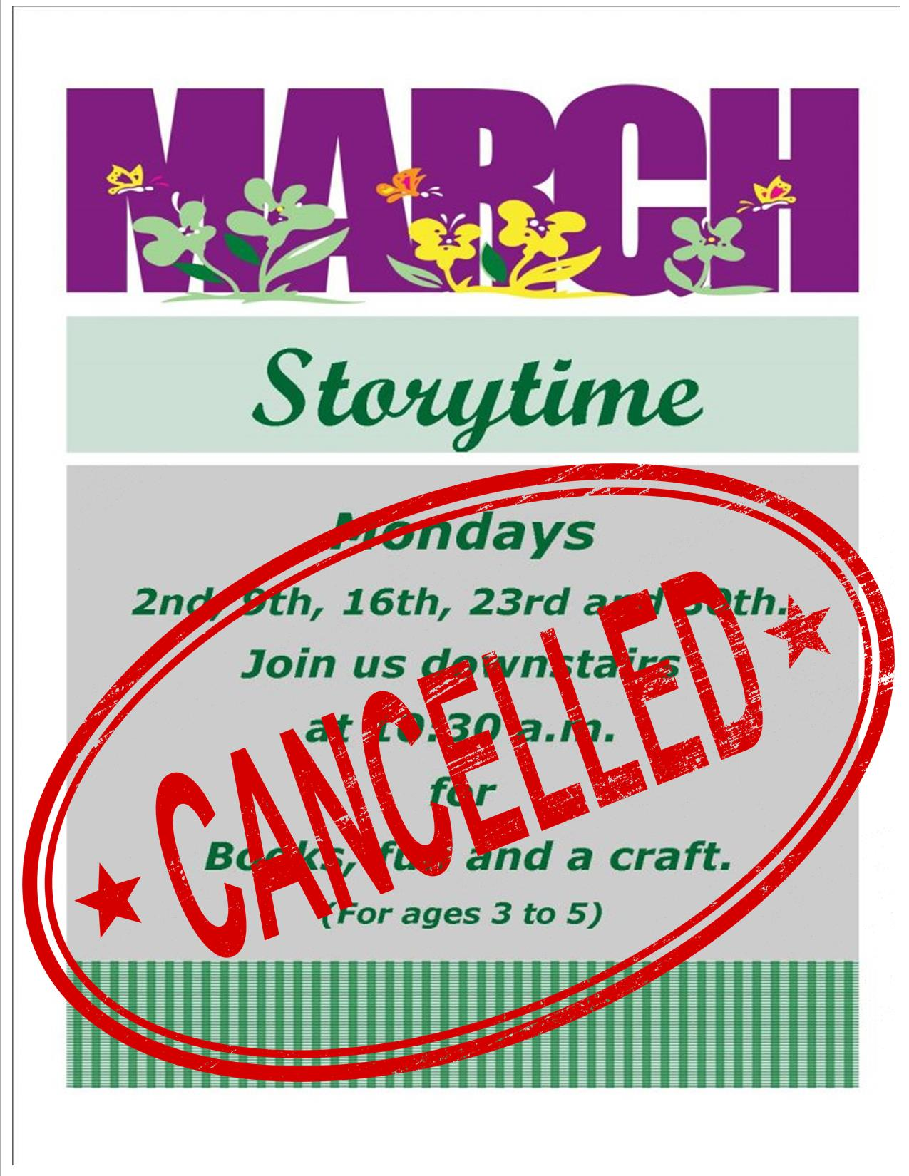 march storytime cancelled
